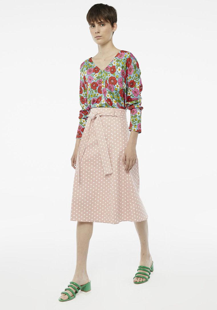 Pink Polka-Dot Midi Skirt Compania Fantastica