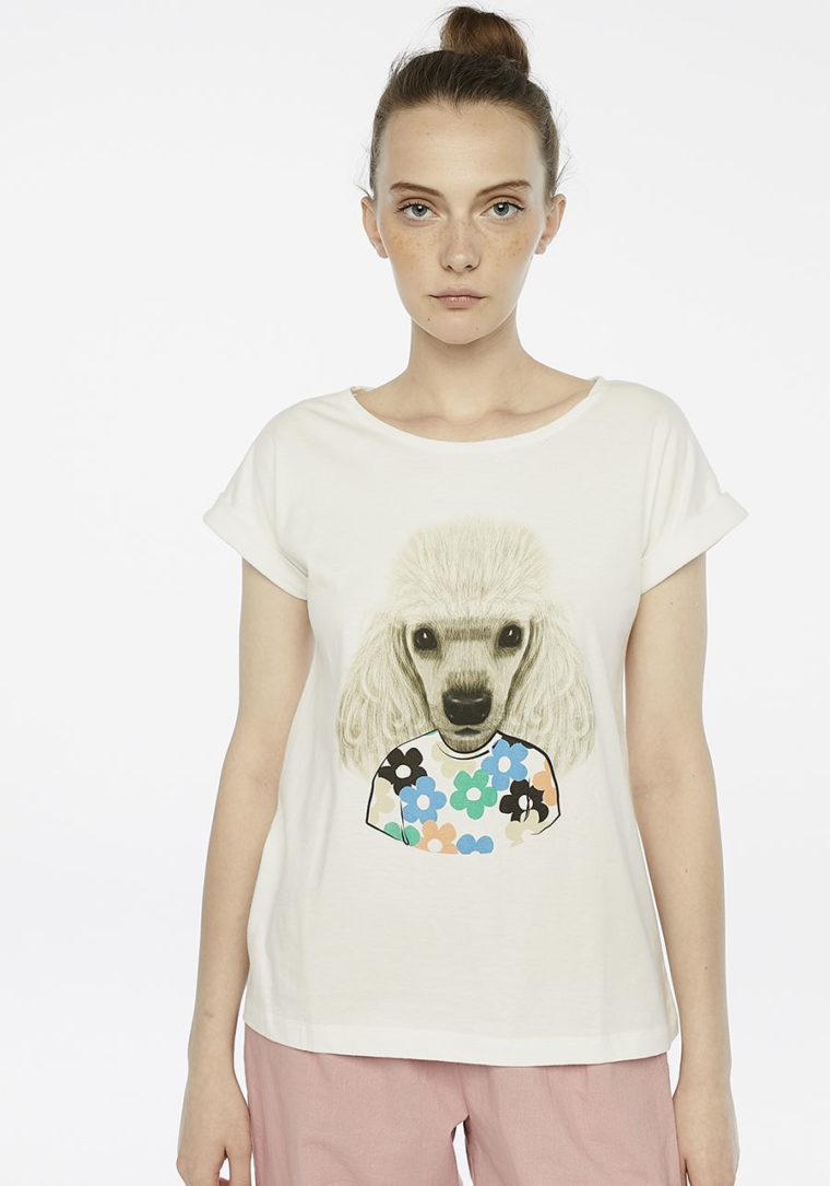 Floral Print Poodle T-Shirt Compania Fantastica