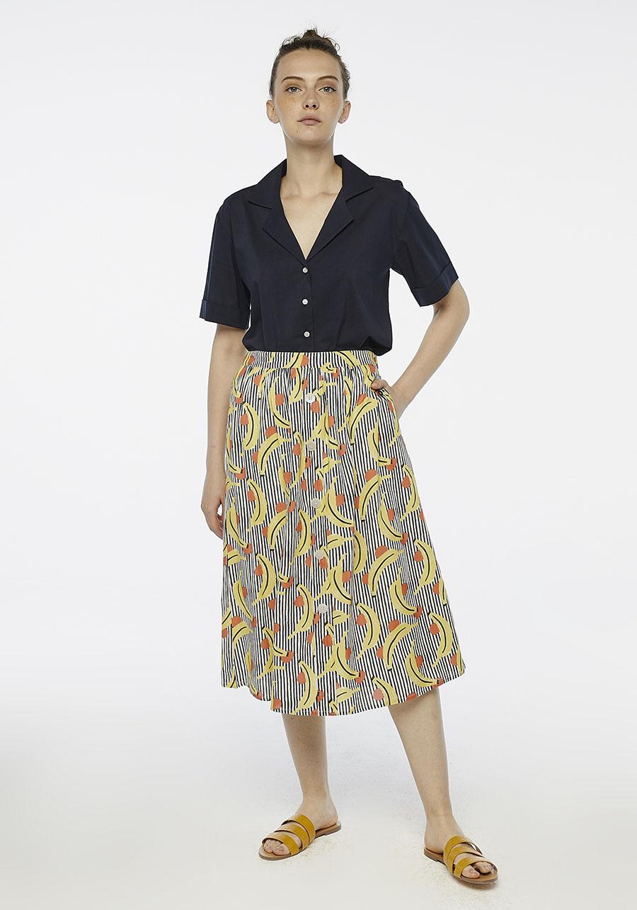 Striped Banana Print Midi Skirt Compania Fantastica