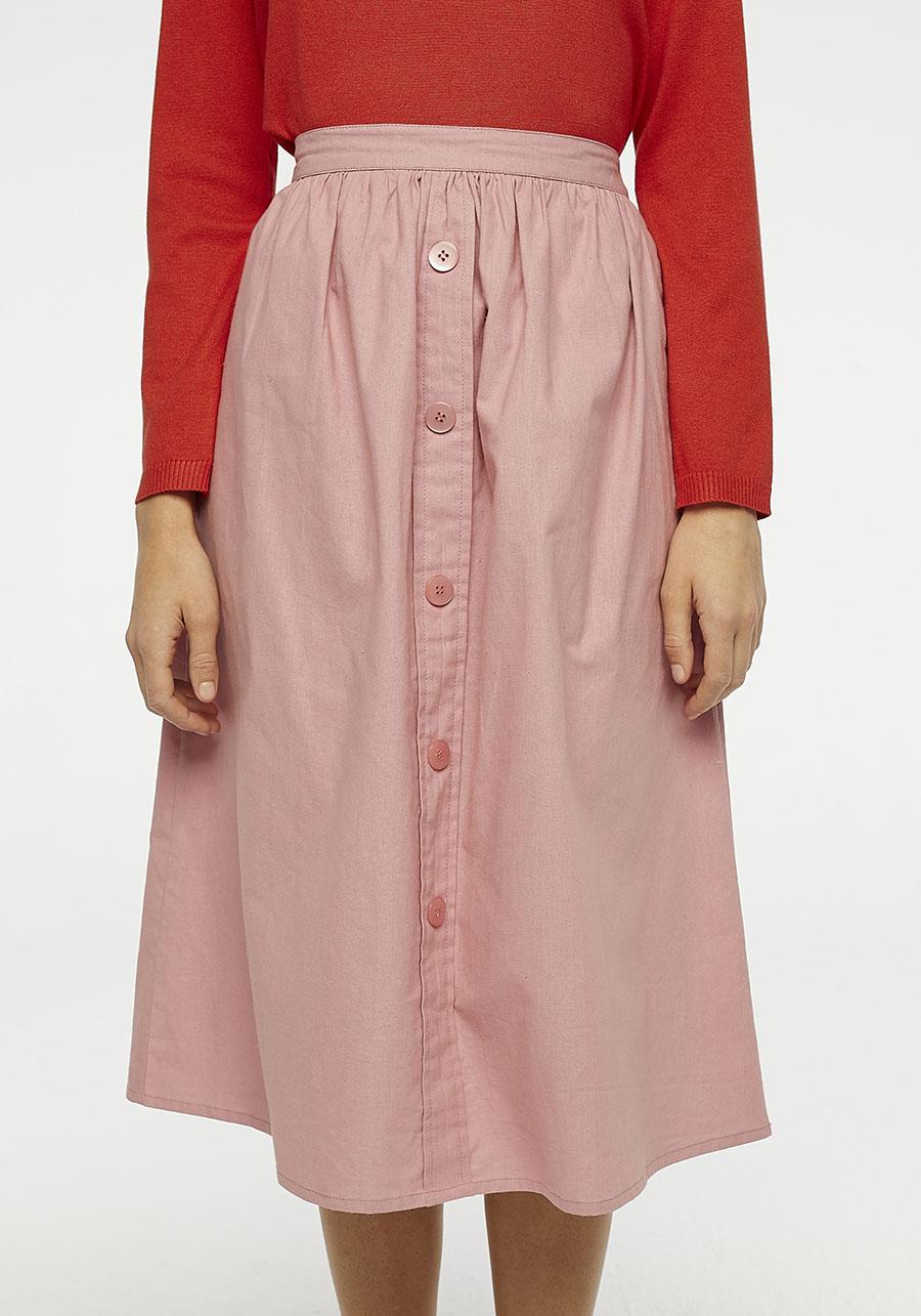 Pink Buttoned Midi Skirt Compania Fantastica
