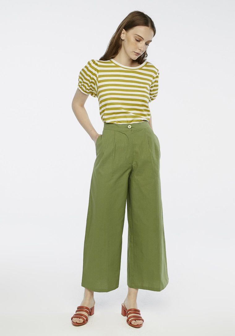 Green Wide-Leg Peg Trousers Compania Fantastica