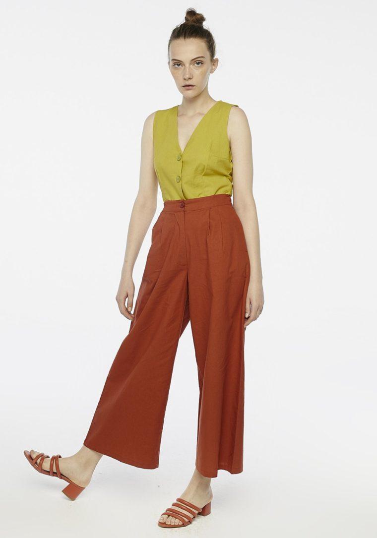 Brown Wide-Leg Peg Trousers Compania Fantastica