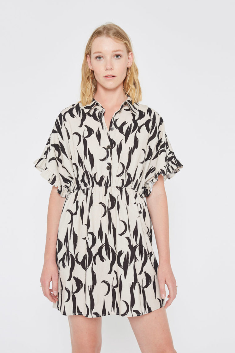 Black Feather Print Kimono Dress Wild Pony