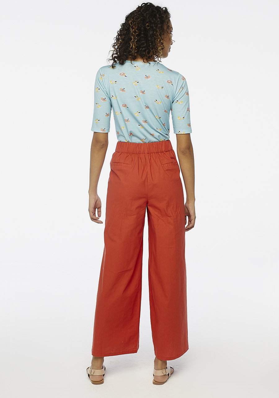 Red Wide Leg Trousers With Buttons Compania Fantastica
