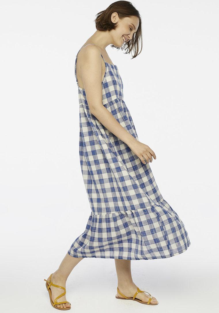 Blue Check Maxi Dress Compania Fantastica