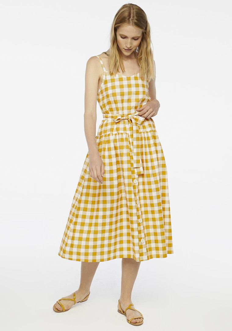 Yellow Check Midi Dress Compania Fantastica