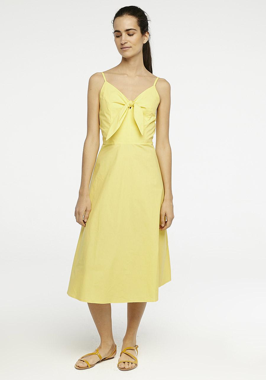 Yellow Midi Dress With Bow Compania Fantastica