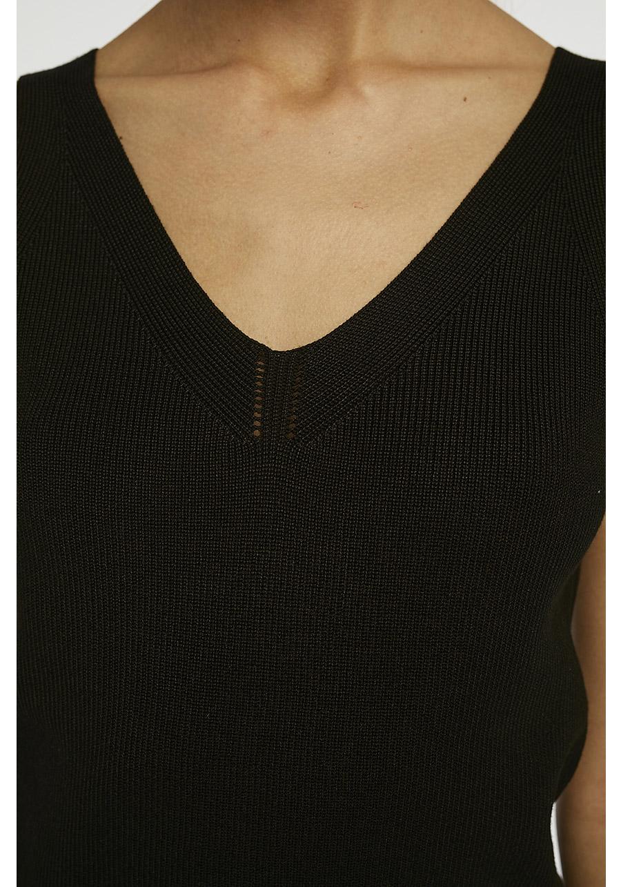 Black Stretch Knit Top Compania Fantastica