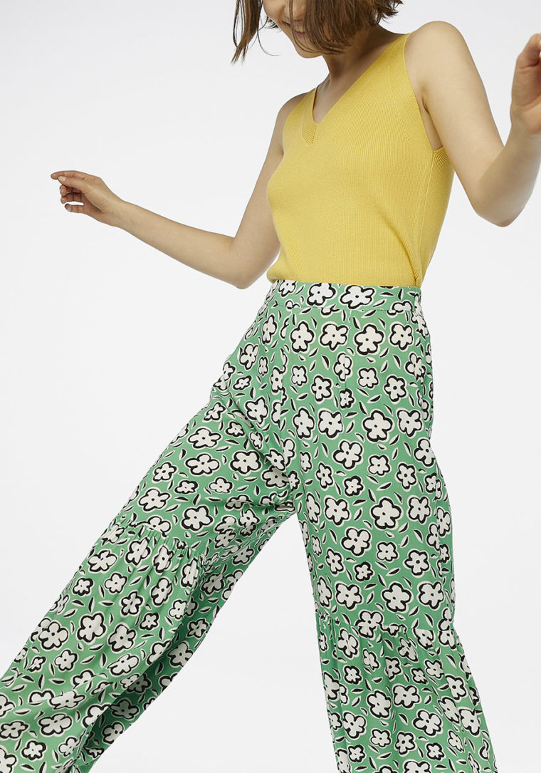 Green Floral Flared Trousers Compania Fantastica