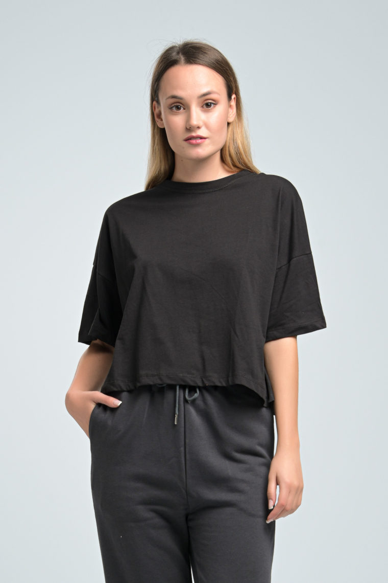 Black Loose Crop T-shirt