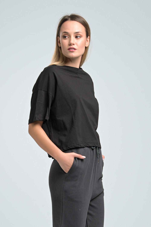 Black Loose Crop T-shirt