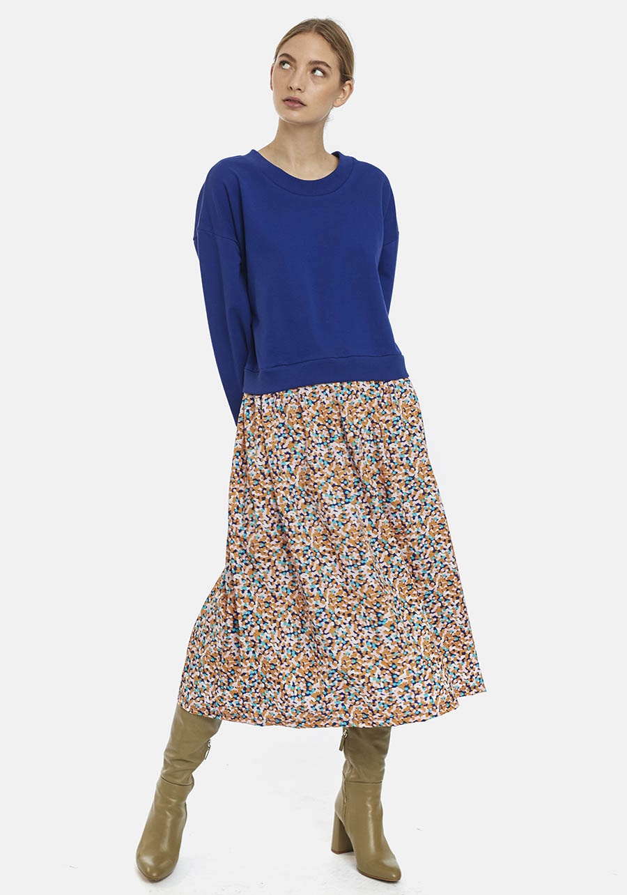Bi-Fabric Blue Dress With Confetti Print Compania Fantastica