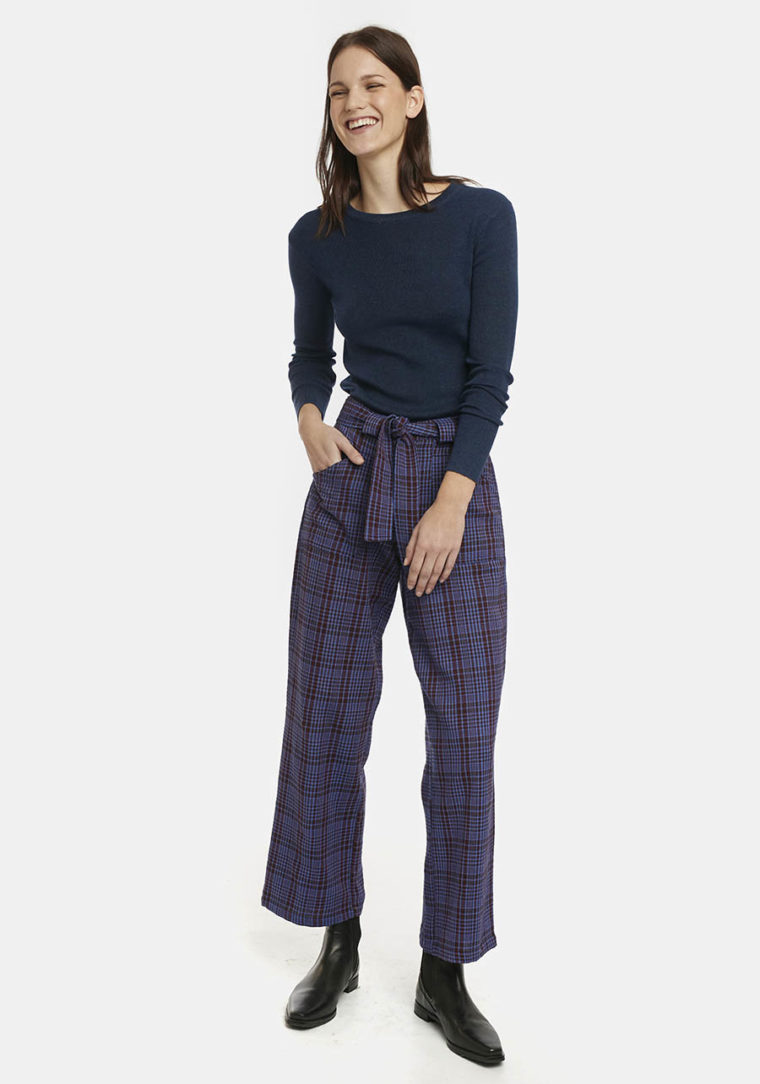 Blue Tartan Check Flannel Trousers Compania Fantastica