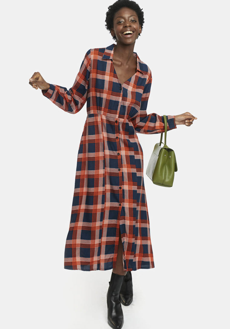 Orange Check Flannel Midi Dress Compania Fantastica