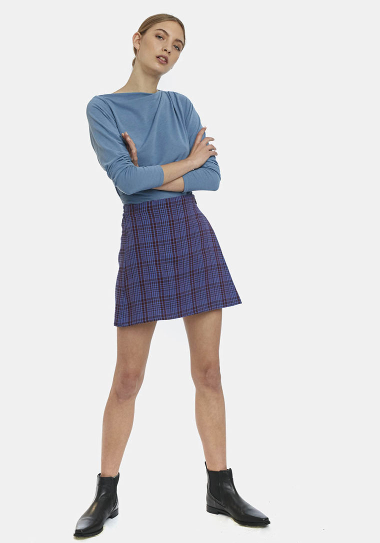 Mini Skirt In Blue Tartan Flannel Compania Fantastica