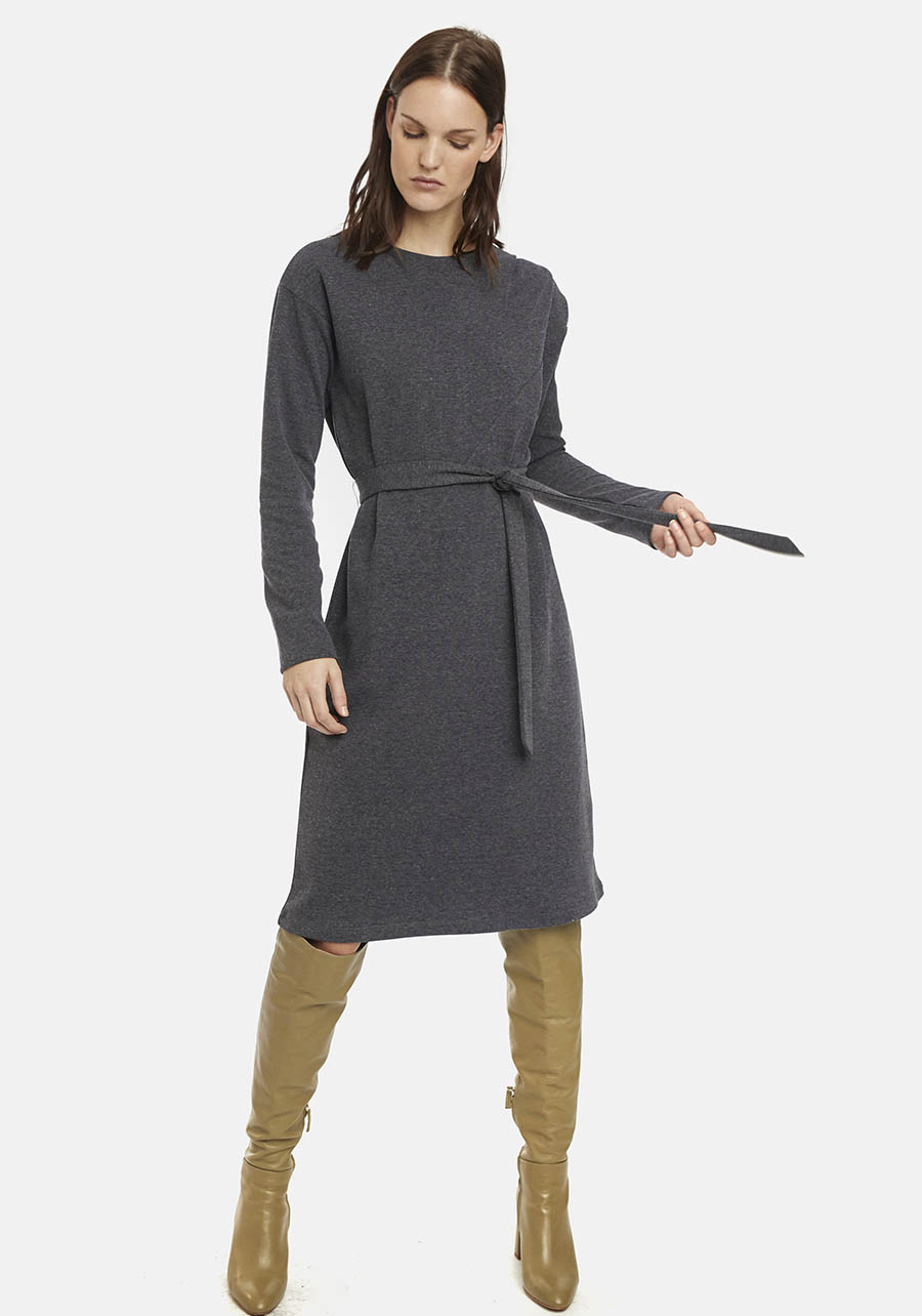 Grey Shift Dress With Bow Belt Compania Fantastica