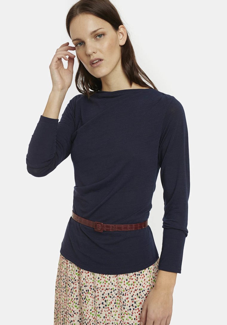 Draped Boat-Neck Top In Blue Compania Fantastica
