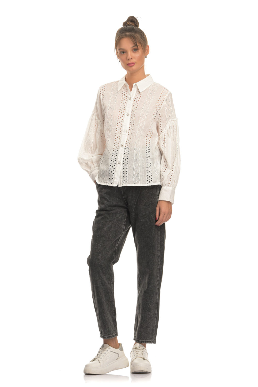 White Cotton Loose Shirt