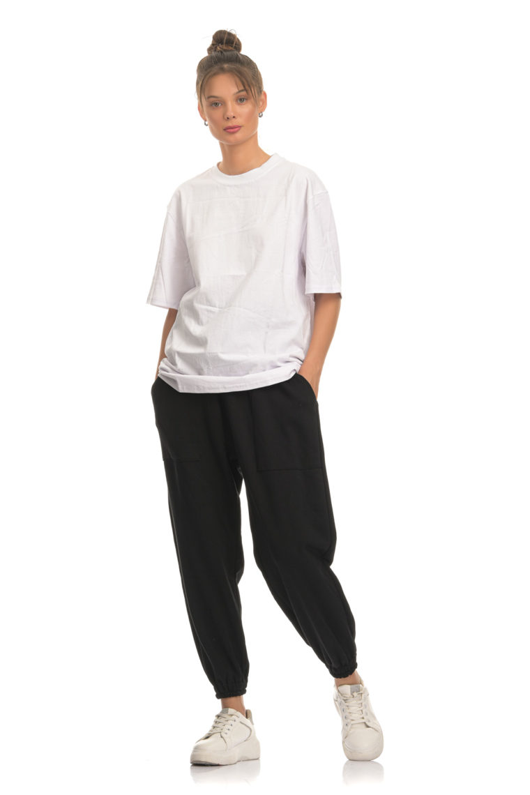 Black Balloon Cotton Pants