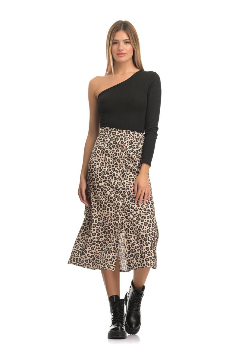 Beige Leopar Midi Skirt