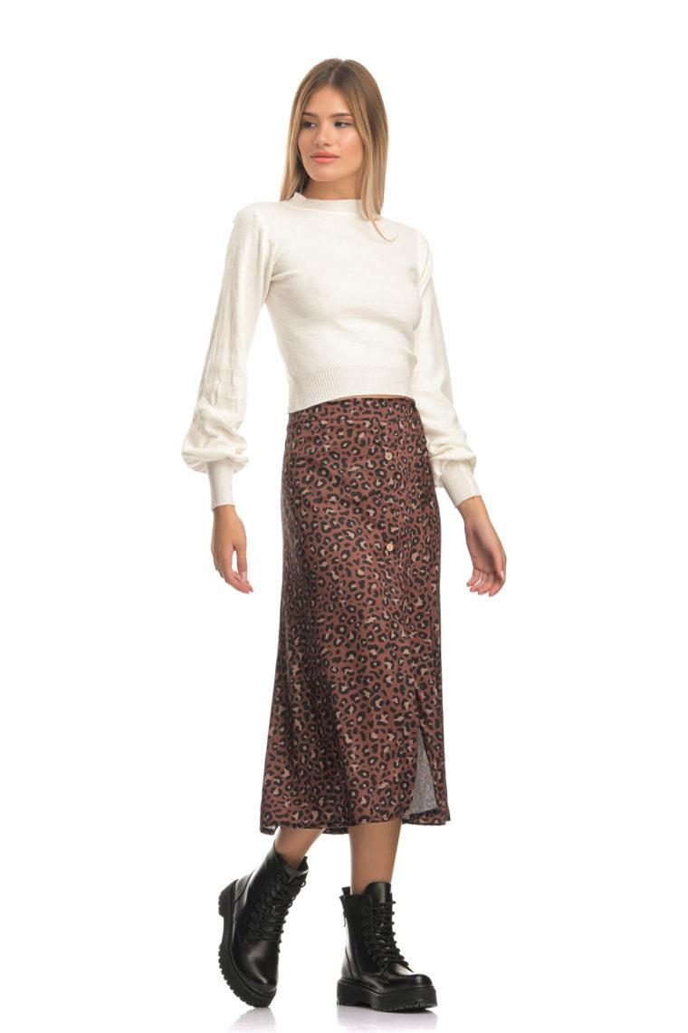 Brown Leopar Midi Skirt