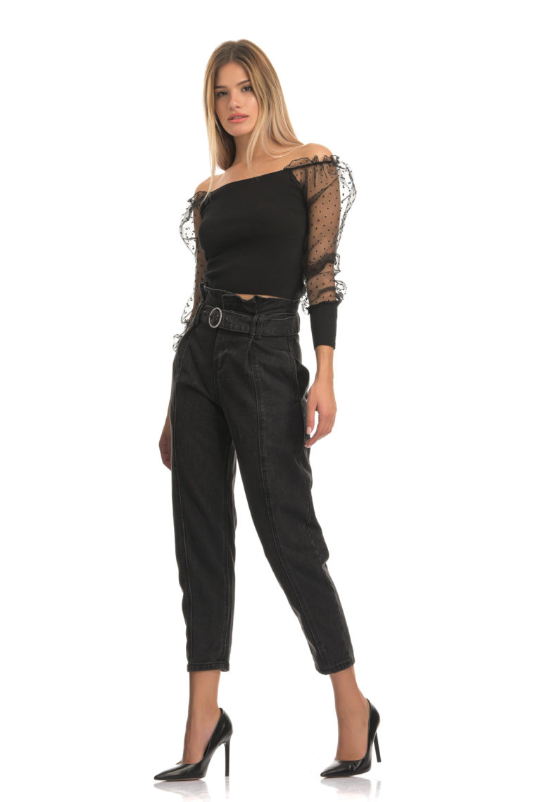 Belted High Waisted Black Jeans