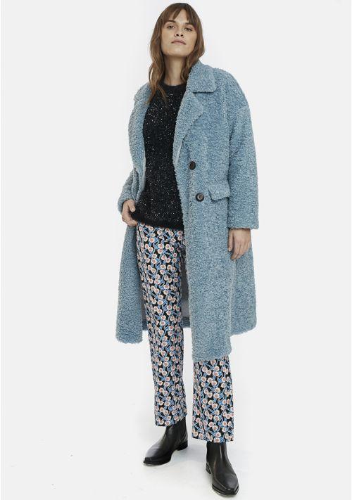 Blue Double-Breasted Teddy Coat Compania Fantastica