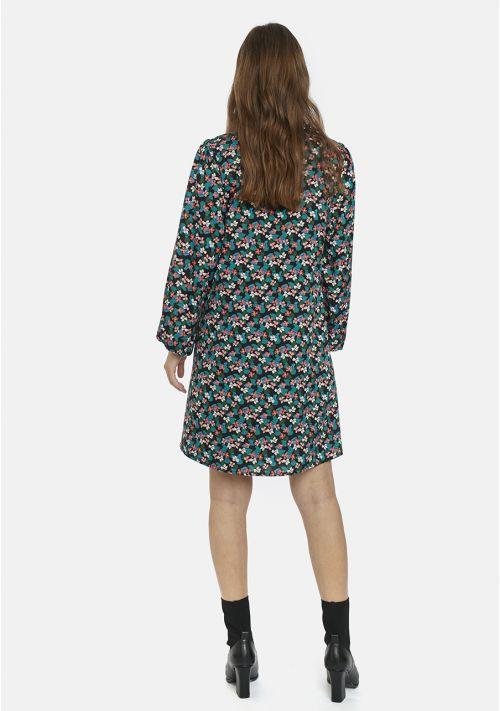 Black Floral Print Ruffle Smock Dress Compania Fantastica