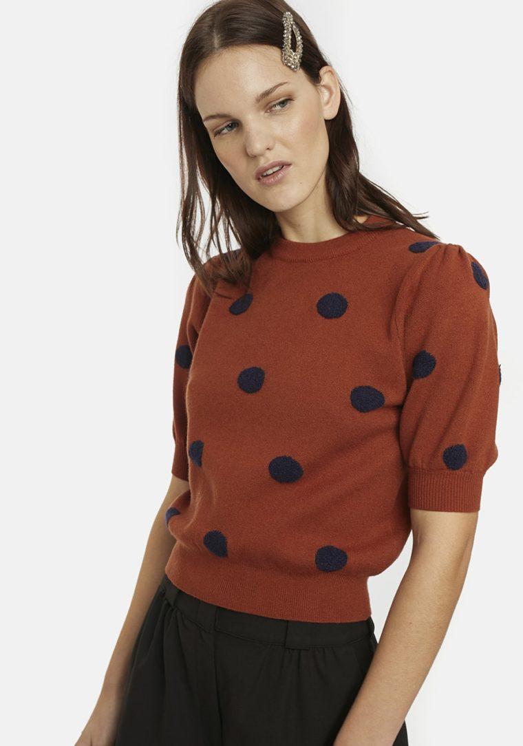 Short-Sleeve Jumber In Brown With Polka Dots Compania Fantastica