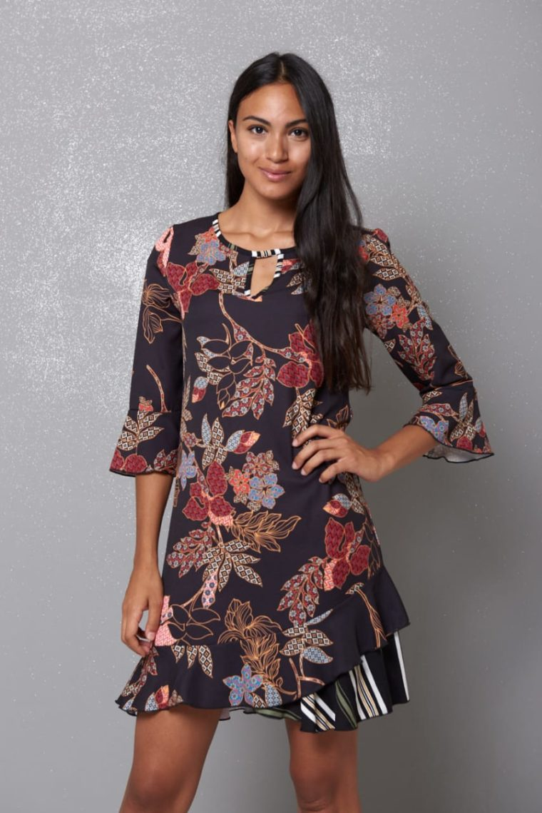 Amelia Black Floral Dress Kikisix