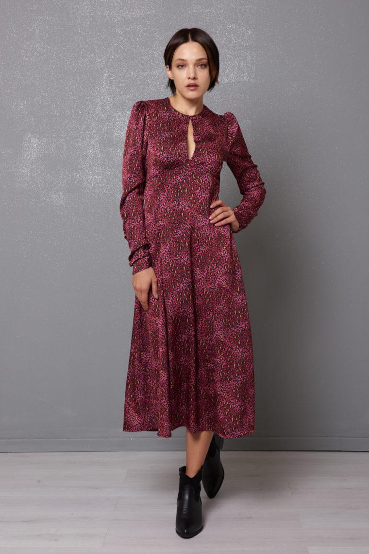 Pink Animal Print Dress Kikisix