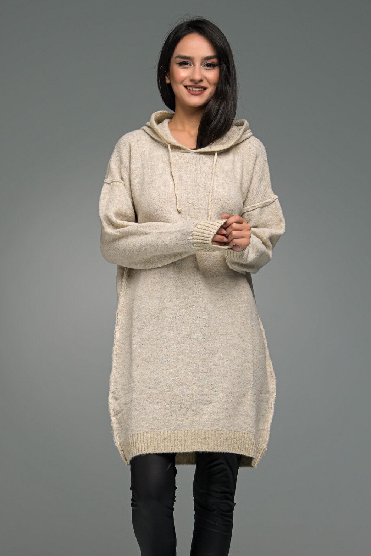 Beige Knit Sweatshirt With Hood