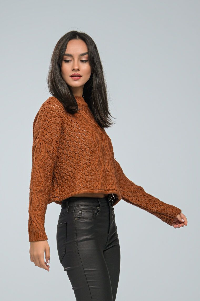 Brown Crop Knit Sweater