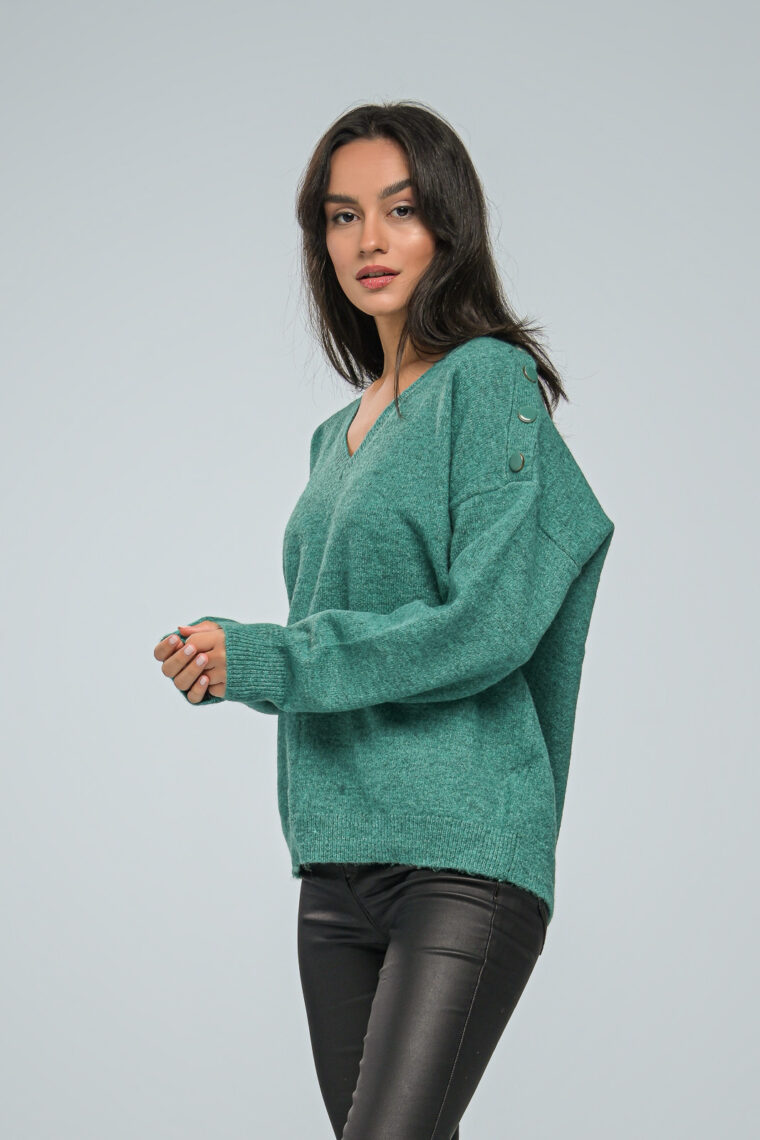 V Neck Bright Green Knit Sweater
