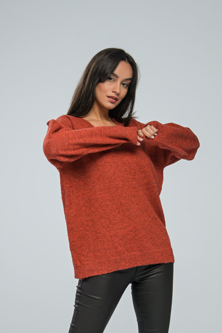 V Neck Orange Brown Knit Sweater