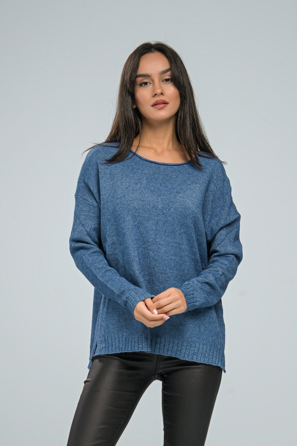 Basic Light Blue Knit Sweater