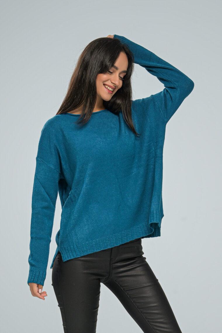 Basic Petrol Knit Sweater