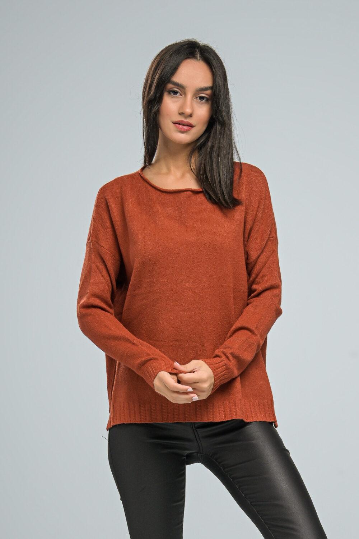 Basic Orange Brown Knit Sweater