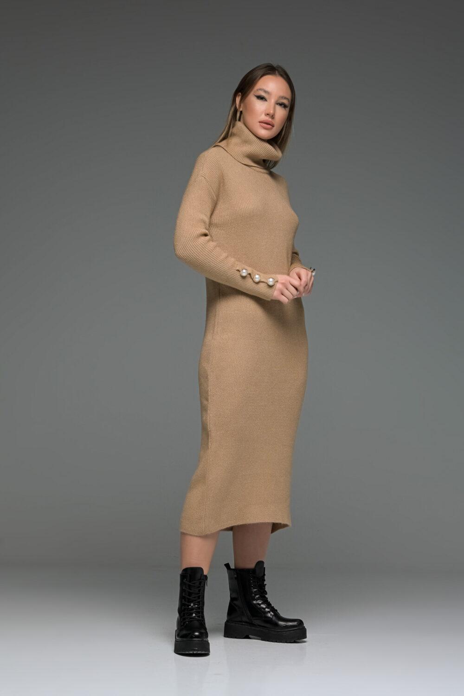 Beige High Neck Knit Long Dress