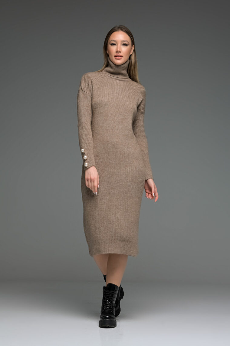 Brown High Neck Knit Long Dress
