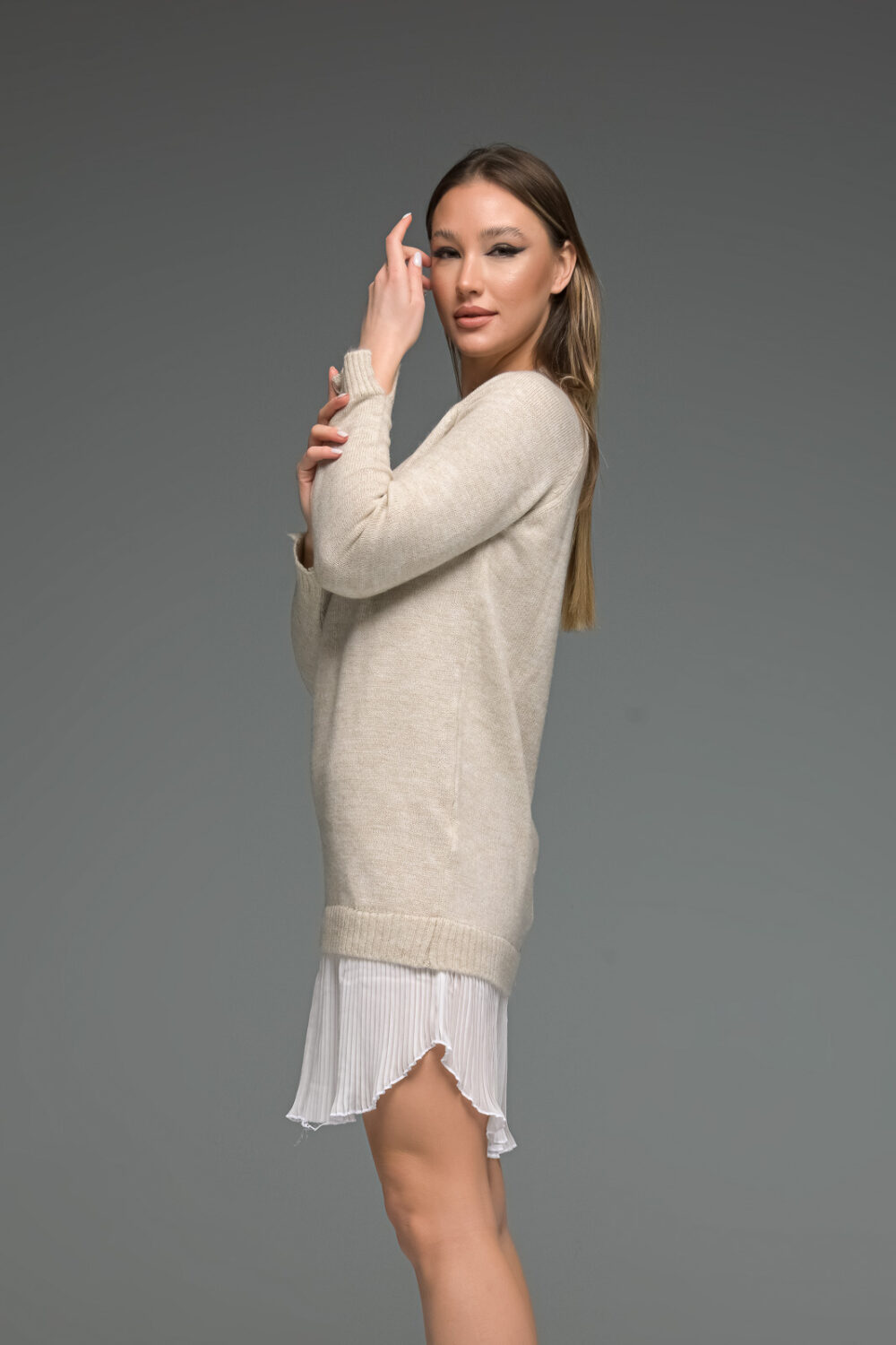 Beige Knit Long Sleeve Shirt Dress