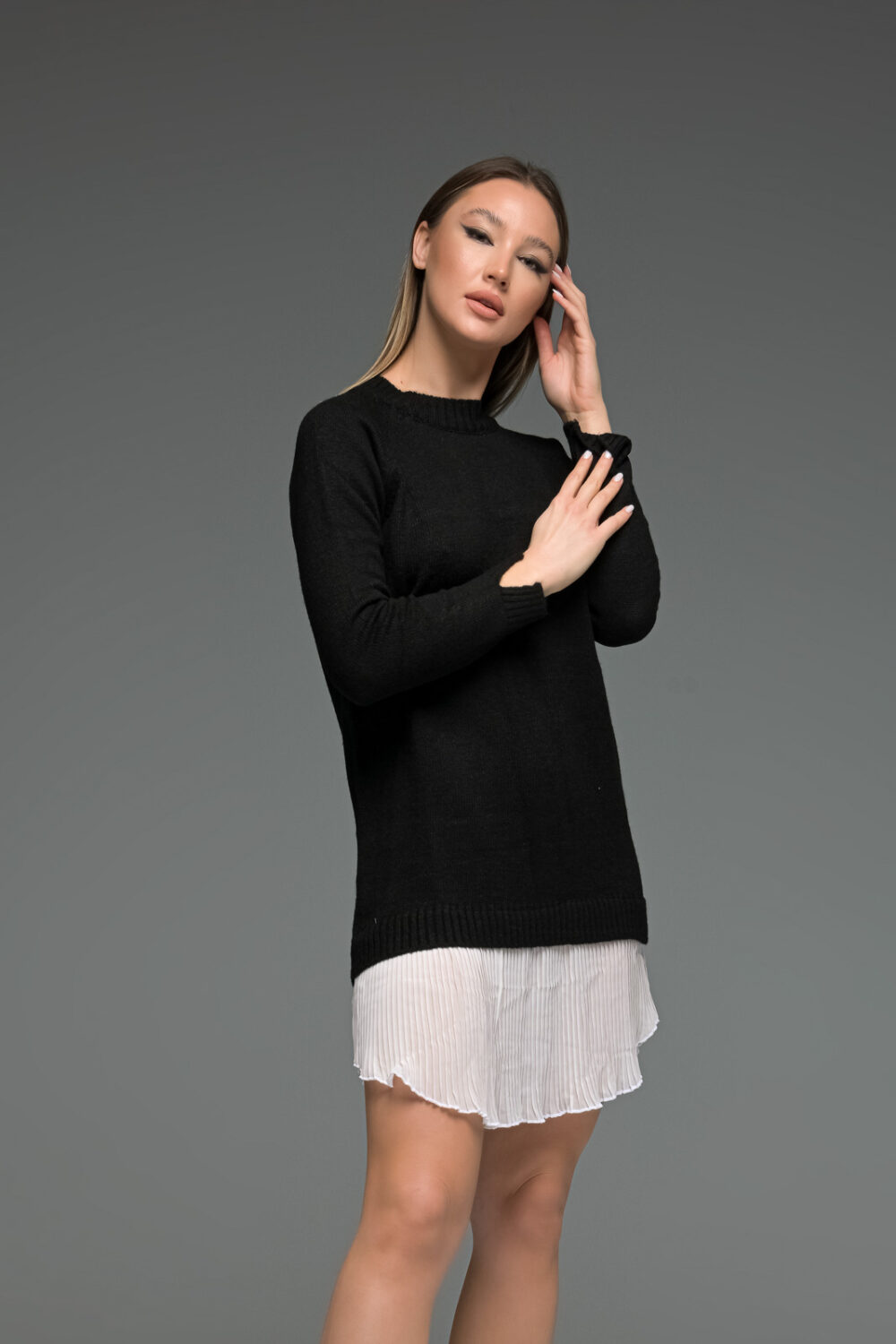 Black Knit Long Sleeve Shirt Dress
