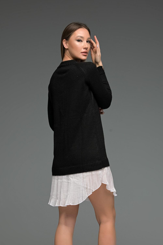 Black Knit Long Sleeve Shirt Dress