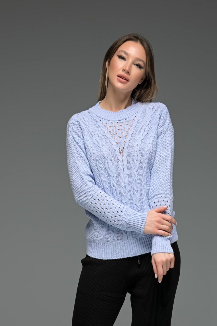 Light Blue Knit Romantic Sweater