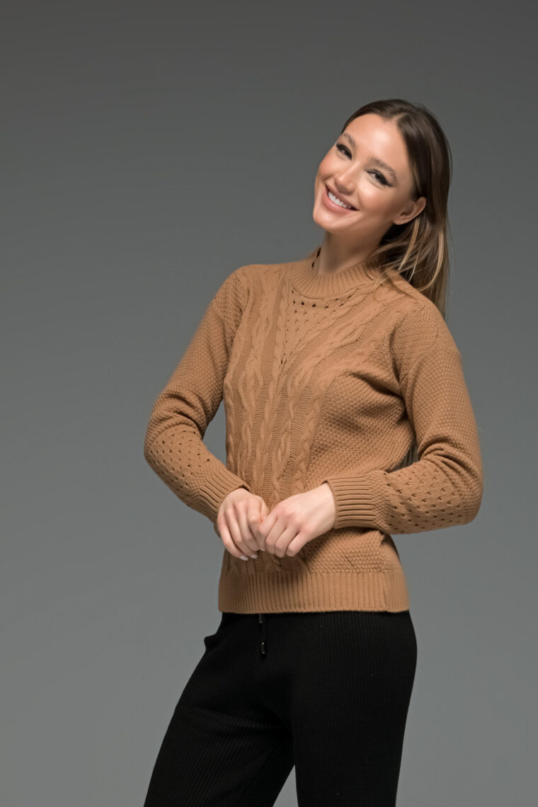 Brown Knit Romantic Sweater