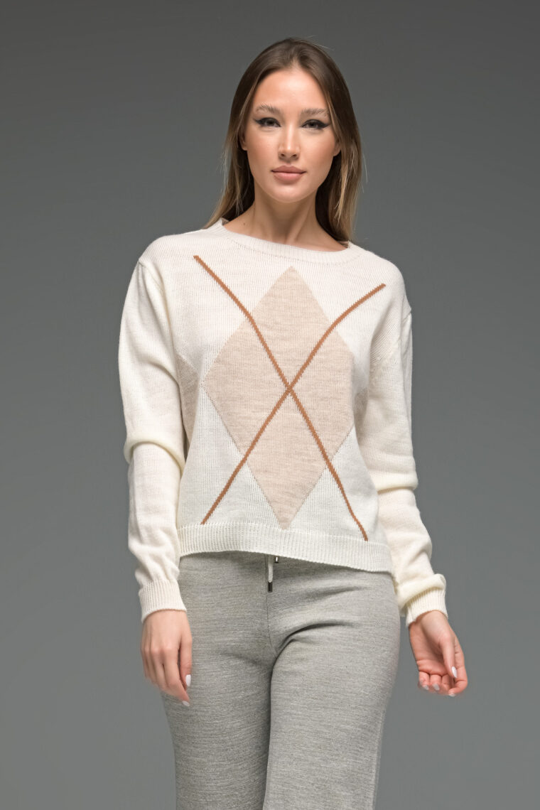 White Geometrical Knit Sweater