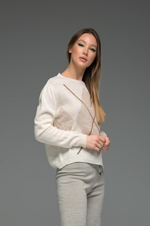 White Geometrical Knit Sweater