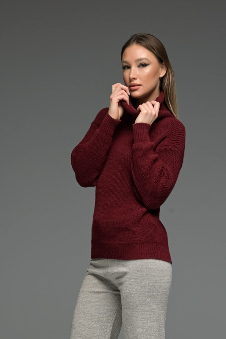 Bordeux High Neck Knit Sweater