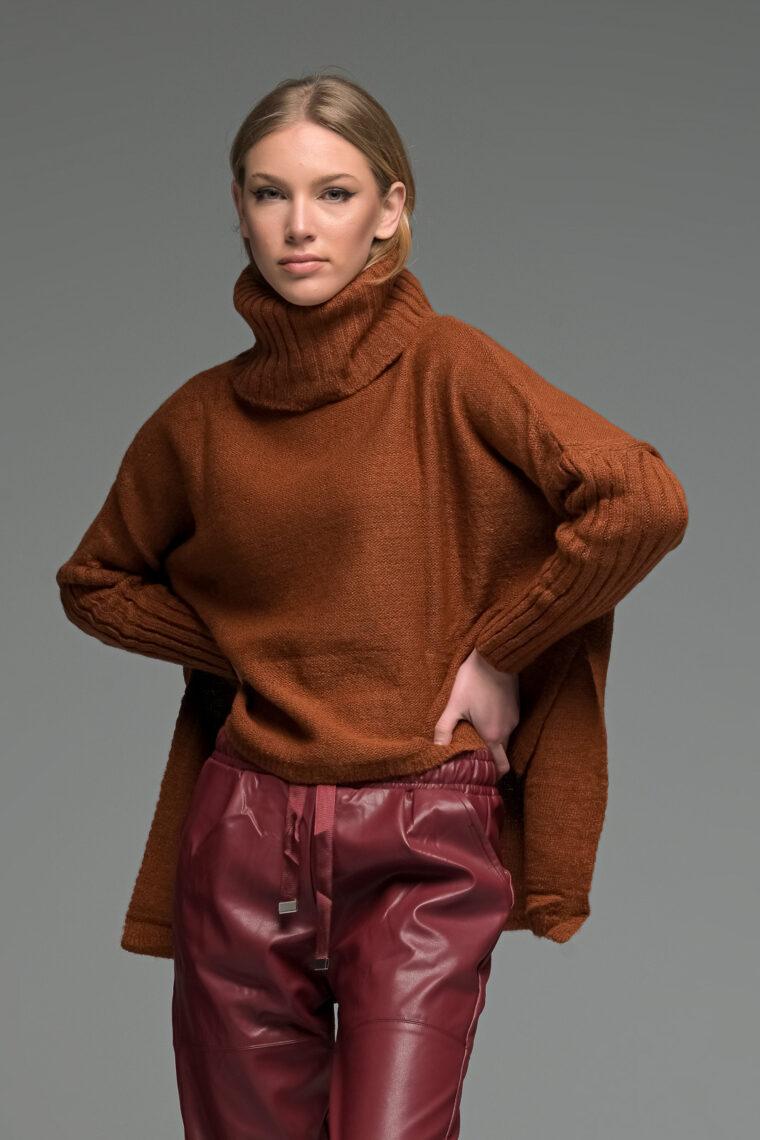 Brown Asymmetric High Neck Knit Sweater