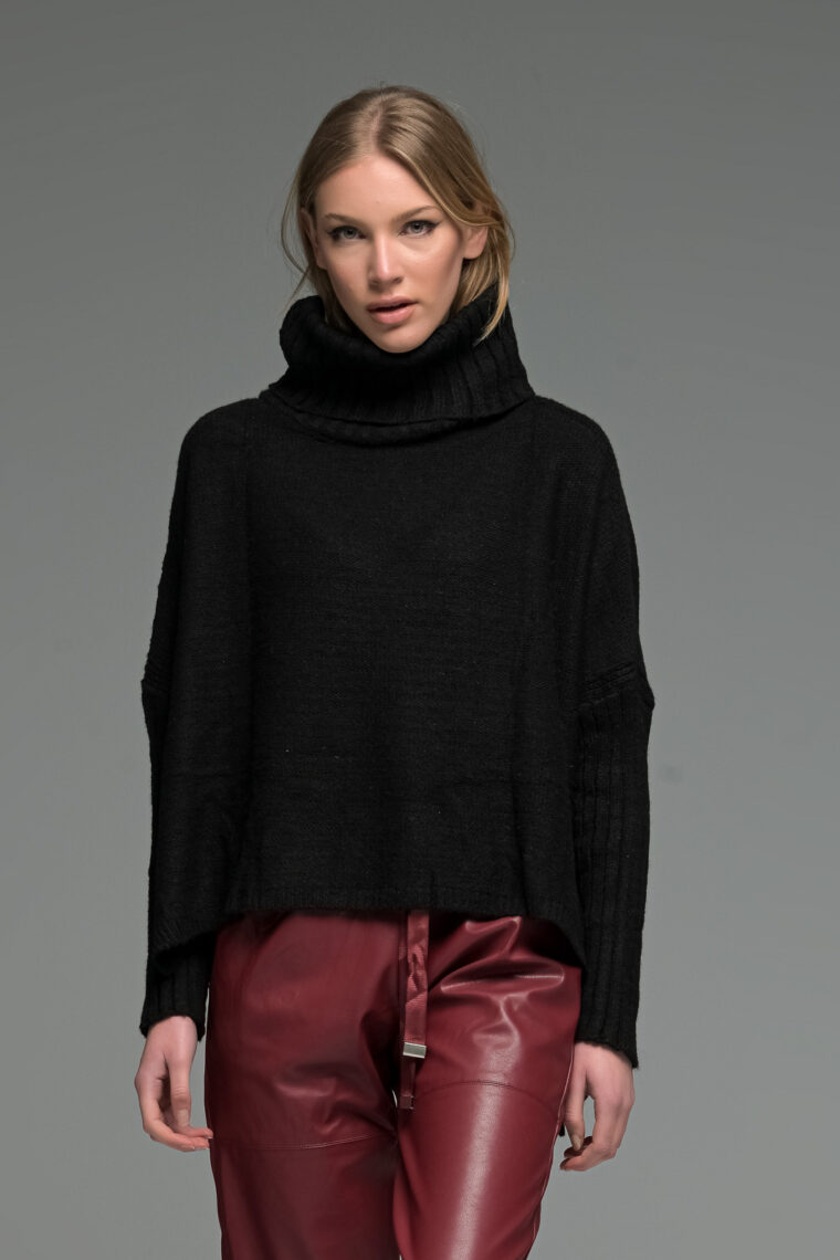 Black Asymmetric High Neck Knit Sweater
